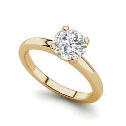 Solitaire 1 Carat VVS1D Round Cut Diamond Engagement Ring Yellow Gold