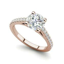 Pave Cathedral 2.5 Carat VVS2F Round Cut Diamond Engagement Ring Rose Gold