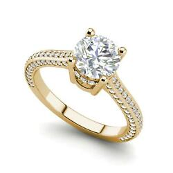 Micropave 3.25 Carat VVS2F Round Cut Diamond Engagement Ring Yellow Gold