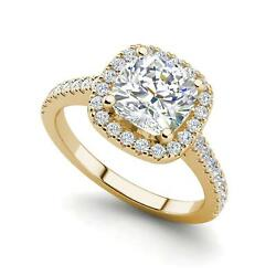 Halo Pave 1.95 Carat VVS2F Round Cut Diamond Engagement Ring Yellow Gold
