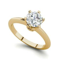 6 Prong Solitaire 1.5 Carat VVS2F Round Cut Diamond Engagement Ring Yellow Gold