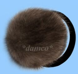 NEW GENUINE BLUE IRIS MINK FUR EARMUFFS one size fits all $35.95