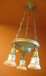 Vintage Lighting set 1915 pan chandelier and pair sconces Glass Shades $890.00