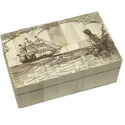 Mermaid Antique Vintage Scrimshaw Bone Jewelry Box Trinket Nautical Decor $27.00