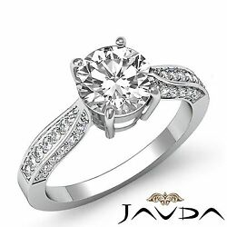 1.4ct Round Cut Diamond Engagement Cathedral Pave Ring GIA F VVS2 14k White Gold