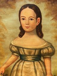 Large 19thC Antique Folk Art OC Portrait Painting Young Girl Standing Circa1850