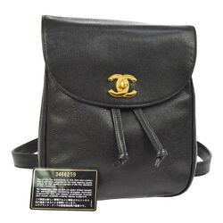 Authentic CHANEL CC Chain Backpack Bag Black Caviar Skin Leather AK25854d