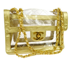 Auth CHANEL Jumbo Quilted CC Double Chain Shoulder Bag Clear Gold Vinyl AK33128g