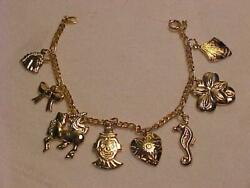 Charm Bracelet Gold Unicorn Bow Clowns Heart Sea Horse Flower Shell Cable Chain