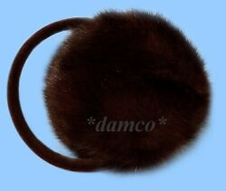 NEW MENS GENUINE DARK RANCH MINK FUR EARMUFFS one fits all $35.95