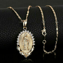 Mens Womens Gold Plated Catholic Virgin Mary Pendant Crystal Necklace Jewelry