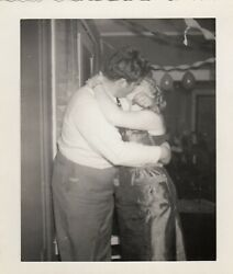 Deeply Affectionate Kiss Make Out At Party Vintage Photo Snapshot Romantic Lover