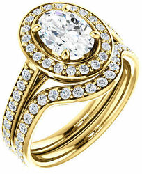 1.93 carat Oval & round cut Diamond Halo Engagement Wedding 14k Yellow Gold