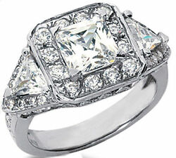 3.55 carat total 1.54 ct Princess cut Round & Trillion Diamonds 14k Gold Ring