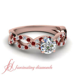 1.50 Carat Infinity Style Round Cut Diamond Rings For Women In 14K Rose Gold GIA
