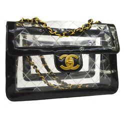 Auth CHANEL Quilted CC Jumbo Double Chain Shoulder Bag Clear Black Vinyl GS00355