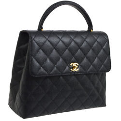 Auth CHANEL Quilted CC Logos Hand Bag Black Caviar Skin Leather Vintage AK25230a
