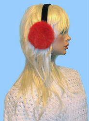 NEW DYED RED GENUINE MINK FUR EARMUFFS one size fits all $35.95