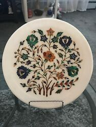 """Marble Serving Plate Marquetry Mother Of Pearl Inlaid Lapis Decor 9.75"""""""