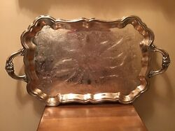 "Antique Ornate FB Rogers Silverplate Handled 18 12"" Butler Serving Tray"
