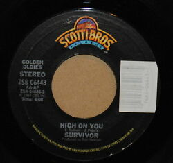 Survivor High On You  The Search Is Over Rock 45 on Scotti Bros Golden
