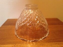 Really Nice Heavy Crystal 5 7 8quot; Criss Cross Floral Etched Lamp Light Shade $19.99