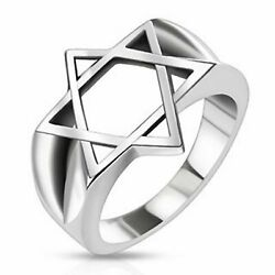 Mens Star of David Ring Stainless Steel Band Size 12 Jewish Jewelry Bar Mitzvah $19.99