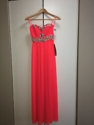 My Michelle Coral Orange Prom Dress Size 1 NWT $150