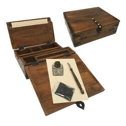 Antique Style Slope Slanted Wood Travel Writing Lap Desk Box and Accessories $115.00