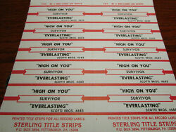 Jukebox Title Strip Full Sheet SURVIVOR High on You  Everlasting
