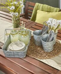 Galvanized Country Farmhouse Serving Set (Serving Tray and Caddy) new