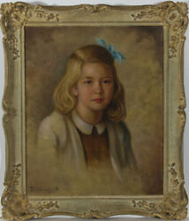 Rudolf Wenghart (1887-1965) - Framed 1947 Oil Portrait of a Blone Girl