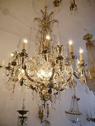 FANTASTIC VERY HIGH CHANDELIER LUSTRE NICKEL BRASS CASTLE PALACE CHATEAU