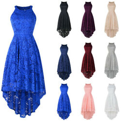 Women Lace Floral Solid Vintage Party Cocktail Halter Sleeveless Dress Gown CR46
