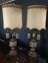 VTG 70's Pair Table Lamps by Wescal. Beautiful Detailing Large W Brocaded Shades $275.00