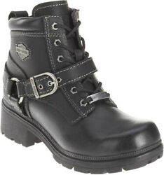 Harley Davidson Womens Tegan Low Cut Lace up Black Leather Biker Boots D84424 $104.95