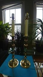 Pair Baldwin Solid Brass Colonial Williamsburg Candlestick Lamps $179.99