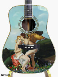 Antonio-Girl Angel Oil Painting-Inlaid Handmade-Solid India Acoustic Guitar 3558