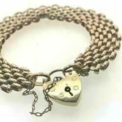 Vintage Heavy Solid Yellow 9ct Gold Link Charm Bracelet 1978 Heart Clasp 57.4g