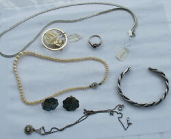 LOT Vintage Jewelry Sterling Ring Pearls Monet Giovanni Brooches Necklaces Chain