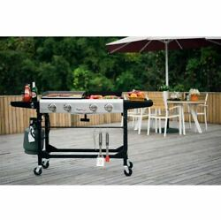 Gas Grill Griddle Combo Portable Propane BBQ Side Wheels Cast Iron Flat Top Size $349.19