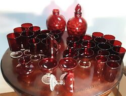 Vintage Ruby Red Depression Wheaton Glassware Many pieces Sold separately $6.25