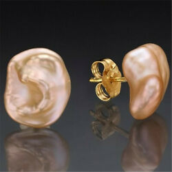 13-14mm Pink Baroque Pearl Earrings Gold Plated Ear Stud classic natural