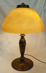 Antique BRASS Base 12quot; ART GLASS ACID ETCHED Shade Electric TABLE LAMP WORKS $395.00
