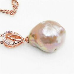 14-15mm White Baroque Pearl Pendant Women Mesmerizing Party Flawless Classic