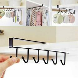 New Black 6 Hooks Cup Holder Hang Kitchen Cabinet Shelf Storage Rack Organizer $6.99