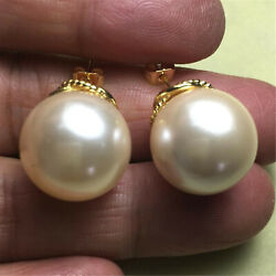 16MM White baroque shell pearl earrings 18K hooks TwoPin chic earbob gorgeous