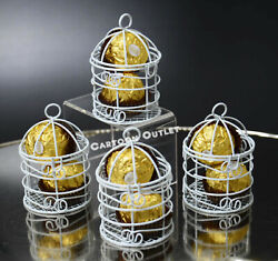 12 WEDDING QUINCEANERA FAVORS SMALL WHITE METAL BIRD CAGES PARTY DECORATIONS $17.99
