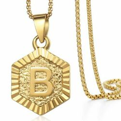 Monagram Hexagon A-Z Gold Filled Initial Letter Pendant Necklace Chain Unisex