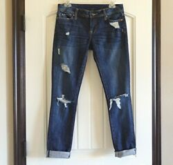 Genetic Denim USA Womens The Shane Skinny Destructed Ripped Blue Jeans SZ 27